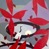 Pale Moon with Crane. Exhibited in 'Mysticism in Landscape', Nadine Fine Art SE Asia Kuala Lumpur, Malaysia 2016